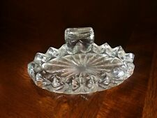 """Antique Sawtooth Clear Thick Glass Soap Dish 3 X 5.25"""""""