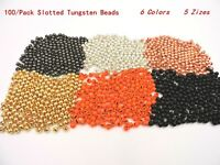 100 Slotted Tungsten Beads Copper Black Gold Silver Orange 5 Sizes