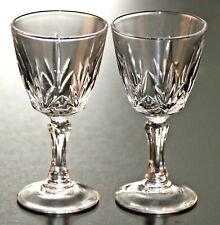 2 AWESOME ANTIQUE RUSSIAN EMPIRE ETCHED CRYSTAL VODKA TALL SHOT GLASSES / ЧАРКА
