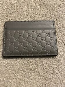 Gucci Grey Leather Card Holder - Authentic Genuine