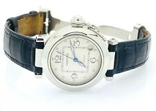 Cartier Pasha De Cartier 2324 Steel Leather Buckle Band 35mm Ivory Dial Watch