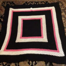 """Handcrafted Crocheted Afghan Blanket Throw Pink/black Knitted 60 X 64""""Handmade"""