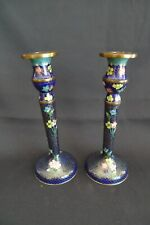 VINTAGE NAVY BLUE CHINESE CLOISONNE PAIR CANDLESTICKS BRASS EXCELLENT CONDITION