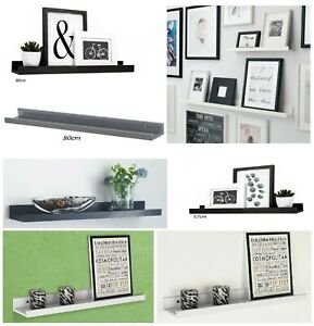 WOODEN FLOATING SHELF SHELVES KIT WALL MOUNTED DISPLAY UNIT HOME OFFICE DECOR