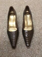 Boxed Peter Kaiser shoemaker since 1838 brown leather crocodile style court shoe