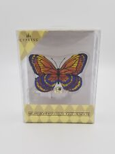 Cypress Home Night Light Butterfly. Handpainted Glass Nightlight. Orange.