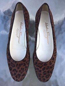 + NEW $495 SALVATORE FERRAGAMO Suede LEOPARD Print Flats Ballet Neiman Nordstrom