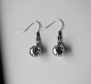 Filigree Ball Earrings,Tibetan Silver Charm,Stainless Steel Hooks, Style 1