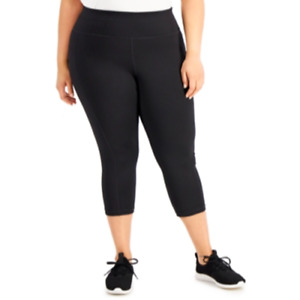 Ideology Womens Noir Black RapiDry Activewear Cropped Leggings Plus Size 2X $24