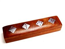 Handmade Wooden Rosewood Box With 5 Dices in Game Storage Box Design 16