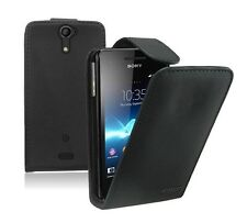 ULTRA SLIM Black Leather flip case cover for Sony Xperia V / LT25i experia