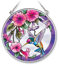 "Hummingbird Morning Glory Sun Catcher AMIA 4.5"" Round Hand Painted Glass Pink"