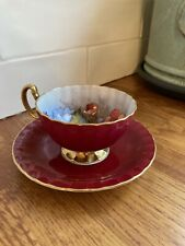 More details for aynsley england cabbage rose tea cup & saucer signed by j.a bailey