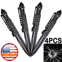 "4PCS Tactical Pen 6"" Aluminum Glass Breaker Multifunction Tool Survival Pens US"