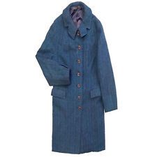 Blue & Purple Harris Tweed Women's 100% Wool Long Coat MINT Size 6