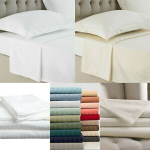 SATEEN STRIPE 250TC HOTEL QUALITY  FLAT SHEETS 100% EGYPTIAN COTTON ALL SIZES