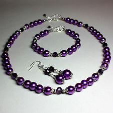 Purple pearls crystals collar necklace bracelet earrings silver jewellery set