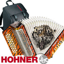 Hohner Button Accordion Corona II Los Tigres, GCF, Orange with Gig Bag & Straps