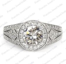 1.61 Ct Near White Moissanite Art Deco Engagement Party 925 Sterling Silver Ring
