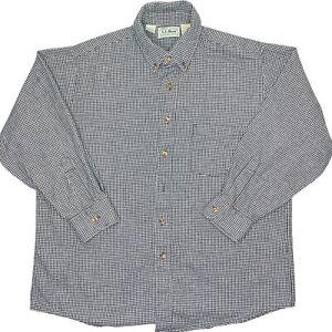 Vintage LL Bean Check Lumberjack USA Flannel Mens Large Button Shirt Black White
