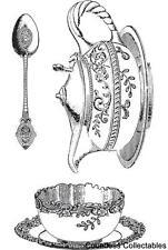 3 SET Tea Party Cup Saucer Pot Spoon Hampton Art Graphic 45 Cling Rubber Stamp