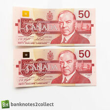 More details for canada: 2 x 50 canadian dollar banknotes with consecutive serial numbers.