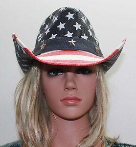 Toyo American Flag Star Studded Straw USA Cowboy Hat NWT FREE Shipping!