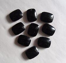 Set of 9 Vintage 1950s Smooth Black Glass Oblong Beads (Faux Jet). Deco Fashion
