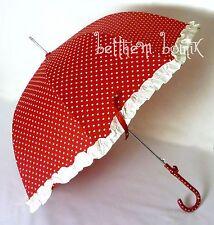 Goth : Parapluie Cloche & Canne ROUGE Coeur Blanc Noeud Manga Lolita Gothique