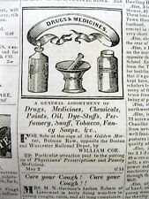1839 Worcester MASSACHUSETS newspaper with 2 illustrated PHARMACY MEDICINE ADS