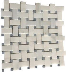 Arabescato Marble Basketweave Mosaic W/BlueGrey Dot polished