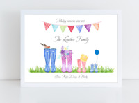 Personalised Welly Boot Family Print - Welly family - Optional Frame - Gift