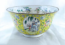 Antique 18Th Century Chinese Canton Enamel Floral Medallion Bowl Marked