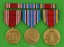 3 Wwii Army Medals & Ribbons - Good Conduct, American Theater, Ww2 Victory