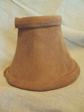 """light brown caramel suede 6"""" mini clip on lamp chandelier shade pair set of 2"""