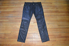 DSQUARED² AMAZING RUNWAY CLASSIC CLEAN SMOOTH BLACK LEATHER PANTS 50 34 SLIM FIT