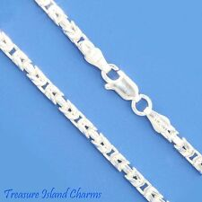 "16"" 2.5mm Square Byzantine .925 Solid Sterling Silver Neck Chain Necklace Heavy"