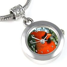 Cardinal Bird Silver Quartz Watch European Spacer Charm Bead For Bracelet EBA32