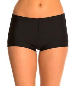 Ladies Plain Black Swim Shorts Bikini Swimwear Boy Style Shorts UK Size 12-22