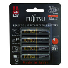 NEW 4 Pack Fujitsu AA 2450mAh Pre Charged and LSD NiMH Rechargeable Batteries