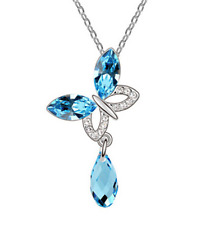 NEW Womens Butterfly Blue Crystal Rhinestone Silver Chain Pendant Necklace  HOT
