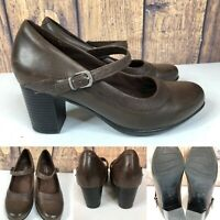Womens CLARKS BENDABLES Brown Leather Mary Janes Heeled Pumps Shoes SIZE 8 M