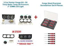 "3 Car Pointer Gauge Kit - Oil Temp Water Temp / Pressure 2"" 52MM + Screwdrivers"