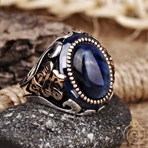 Tiger Eye Men Celtic Knot Ring Blue Cabochon Stone Custom Anniversary Jewelry