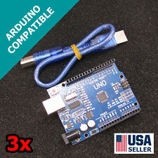 3x Arduino UNO R3 & USB Cable 2014 Version Fast Shipping USA Seller