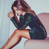 MOTEL ROCKS Gabby Sequin Dress in Iridescent Green (mr80.24) READ COMMENTS