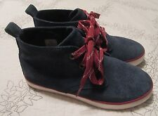 Boy's Hanna Andersson Desert Ankle Boots Blue Leather Suede Lace Up Size 1