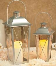 Silver Metal & Glass LED Candle Lanterns Hanging & Tabletop Decor (Set of 2)