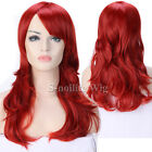 Women Party Dress Curly Wavy Straight Wig Long Cosplay Wig with Bang Red Pink 0g