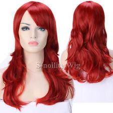 Women Long Straight Curly Full Wig Cosplay Costume Anime Hair Party Wig Black 1F